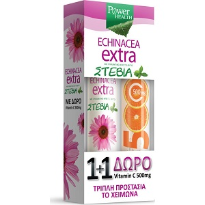 power health echinacea extra me stevia 24 anavrazonta diskia +vitamin c 500mg 20 anavrazonta